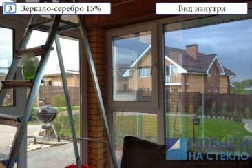 Слева на стекле еще нет пленки, справа тонировка стекла дома
